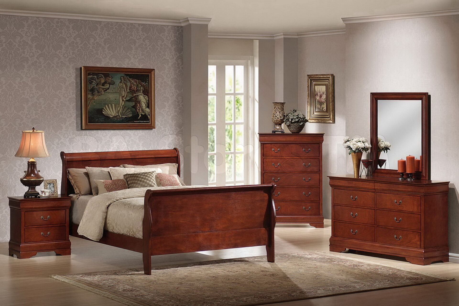 Cherry wood furniture bedroom decor ideas for Bedroom dresser decor