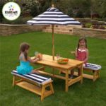 KidKraft Octagon Table and Stools with Striped Umbrella