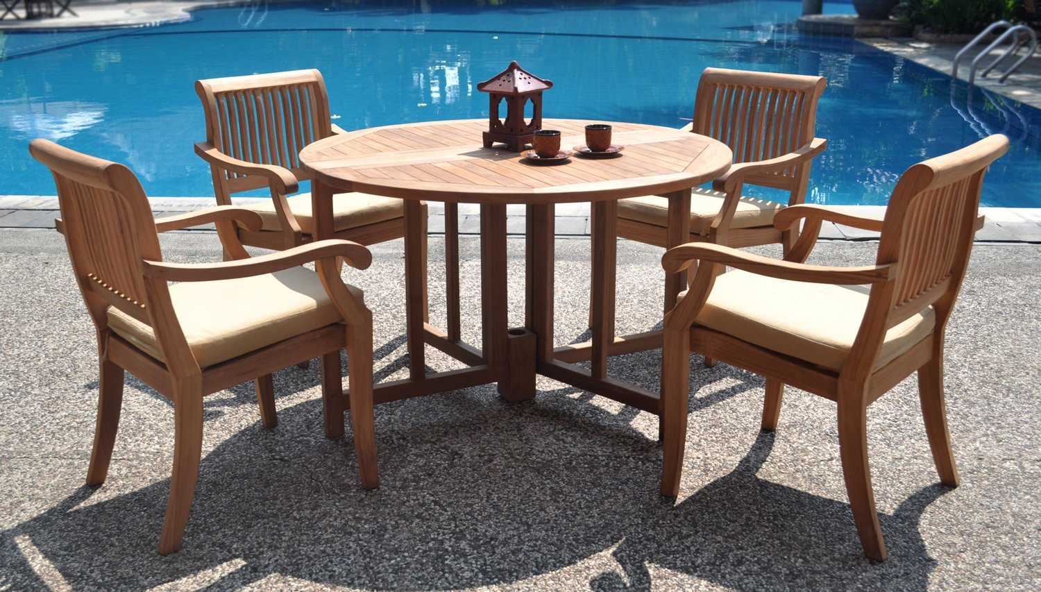 Resistant rattan effect outdoor patio dining set with round table - Cheap Patio Furniture
